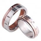 eQute 316L Titanium Steel Calendar Style Couple Lovers Rings - Silver + Coffee (Men 8 / Women 6)