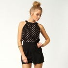 LC3143 Fashionable Sweet Polkadot Cutaway Shoulder Lace Playsuit - Black + Light Pink (Free Size)
