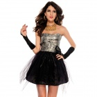 Sexy Strapless Floral Print Bandeau Prom Dress - Black + Silver (Free Size)