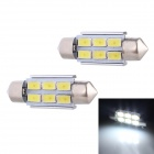 Festoon 36mm 3W 240lm 6 x SMD 5630 LED White Light Decoding Car Reading Lamp Dome Bulb (12V / 2 PCS)