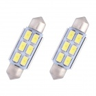 Festoon 39 milímetros 3W 240lm 6 x SMD 5630 LED White Light Car Decoding lâmpada de leitura Dome Bulb (12V / 2 PCS)