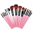 B15B Professional 15-in-1 Cosmetic Makeup Brush Set w/ PU Case - Red + Black
