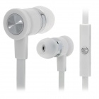 Stylish In-Ear Flat Earphones w/ Microphone for Iphone - White (3.5mm Plug / 1.3m)
