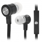 Stylish Flat In-Ear Earphones w/ Microphone for Iphone - Black (3.5mm Plug / 1.3m)