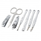 RIMEI 70046 7-in-1 Stainless Steel Nail Clippers Scissors Manicure Tools w/ Case - Silver
