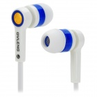 OVLENG OV-K284MP Stylish In-Ear Flat Earphones - White + Blue + Golden (3.5mm Plug / 126cm)