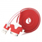 USB 2.0 Male to 30-Pin / Lightning 8-Pin / Micro USB Male Charging Data Cable - Red