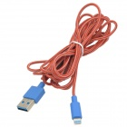 Nylon Gehäuse USB 3.0 Male Lightning Data Sync-& Ladekabel für iPhone 5 - Rot + Blau (300cm)