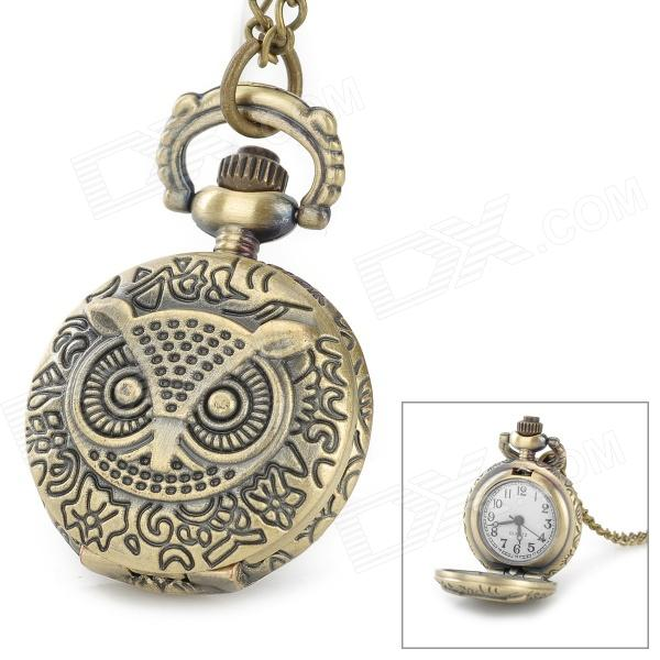 199A Retro Owl Pattern Flip-Open Quartz Analogue Pocket Watch - Antique Brass (1 x LR626) 7 mode tactical flashlight cree led linternas xm l2 torch ipx 8 waterproof cr123a or 18650 rechargeable battery hunting lights