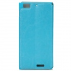 AZNS Stylish PU Leather Stand Case for Lenovo K900 - Cyan