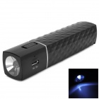 Portable 2600mAh Rechargeable Li-ion Power Tube w/ LED Torch Light for Iphone 5 + More - Black