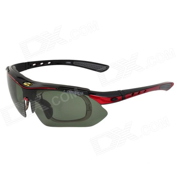 LAMBDA LS668 Outdoor Cycling UV400 Protection Sunglasses w/ Replacement Lens - Black + Red topeak outdoor sports cycling photochromic sun glasses bicycle sunglasses mtb nxt lenses glasses eyewear goggles 3 colors