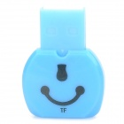 Cute Smiley Face Style 480Mbps USB 2.0 Micro SD / TF Card Reader - Blue