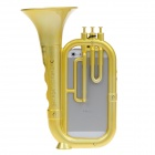 Protective Plastic Back Case w/ Megaphone / Strap for Iphone 5 - Golden
