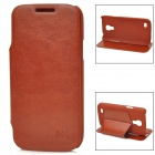 KUCHI Stylish PU Leather Stand Case for Samsung Galaxy S4 Mini - Brown