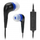 Stylish In-Ear Earphones w/ Microphone for Iphone / Samsung - Black (3.5mm Plug / 1m)
