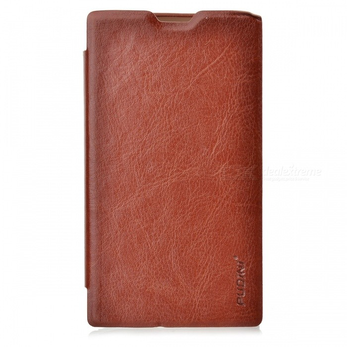 Pudini LX520R Stylish Flip-open PU Leather Case + Screen Film for Nokia Lumia 520 - BrownLeather Cases<br>ModelLX520RMaterialPUForm  ColorBrownQuantity1Compatible ModelsNokiaOther FeaturesProtectsPacking List1 x Case1 x Screen film1 x Cloth<br>