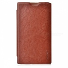 Pudini LX520R Stylish Flip-open PU Leather Case + Screen Film for Nokia Lumia 520 - Brown