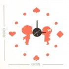 Creative Lovers Pattern DIY Glow-in-the-Dark Wall Clock - Red + Black (1 x AA)