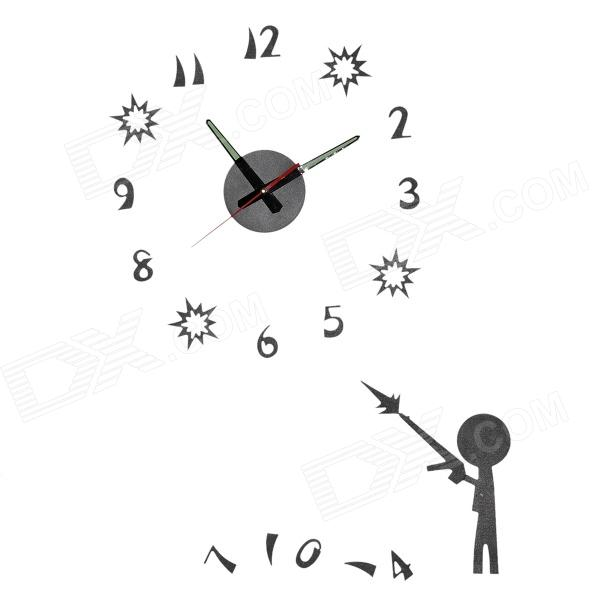 DIY Luminous Decoration Artistic Wall Clock - Black diy coffee cup wall sticker clock home decoration coffee black red green