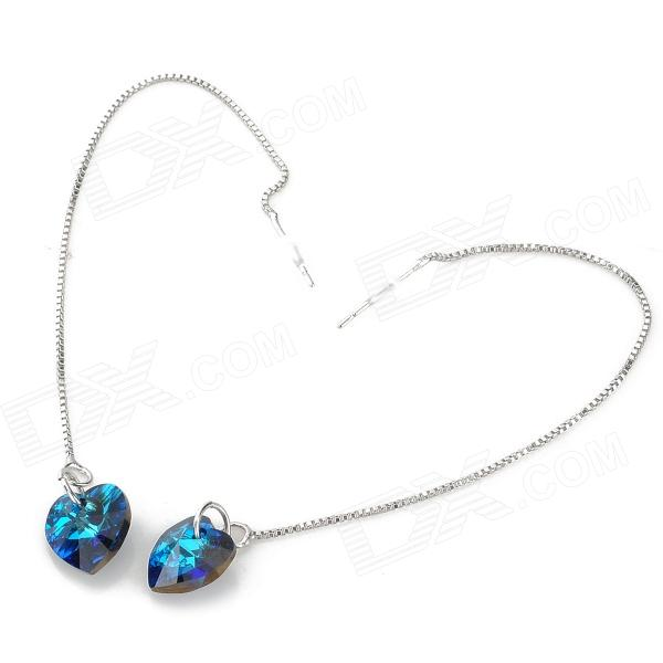 1508 Fashionable Ocean's Heart Style Rhinestone Eardrop 925 Silver Earring - Blue + Silver women fashion rivet punk style handbag ladies grace elegant luxury messenger bag bolsas de marcas famosas feminina cymakaxa1004d