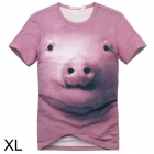 Cool 3D Pig Head Pattern Cotton T-Shirt for Men - Pink (XL)