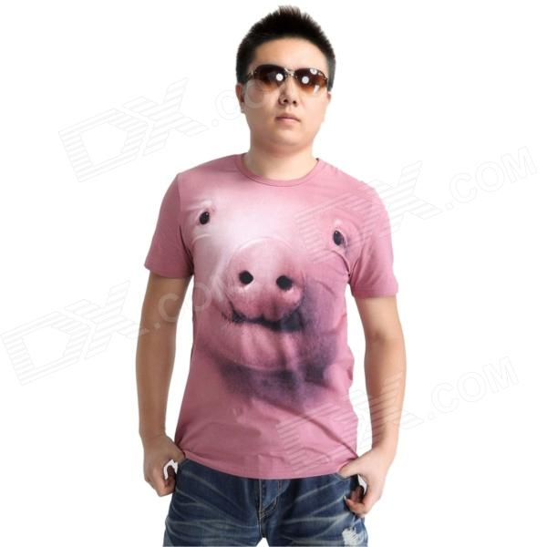 Cool 3D Pig Head Pattern Cotton T-Shirt for Men - Pink (XL) - Free ...
