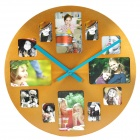 Round Aluminum Alloy Photo Frame Wall Clock - Golden + Black (1 x AA)