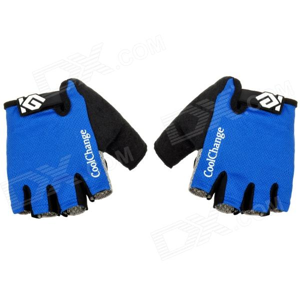 CoolChange Cycling Nylon Warm Half-finger Gloves - Black + Blue + Light Grey (Size L / Pair) universal nylon cell phone holster blue black size l