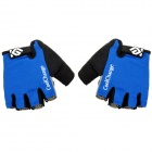 CoolChange Cycling Nylon Warm Half-finger Gloves - Black + Blue + Light Grey (Size L / Pair)