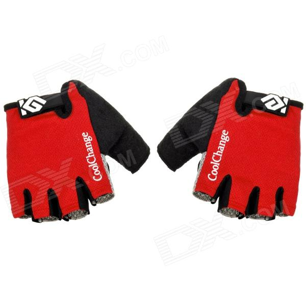 CoolChange Cycling Nylon Warm Half-finger Gloves - Black + Red + Light Grey (Size L / Pair) велосипед author modus 29 2015