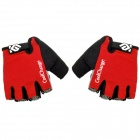 CoolChange Cycling Nylon Warm Half-finger Gloves - Black + Red + Light Grey (Size L / Pair)