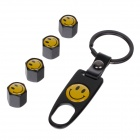 VISONTER Replacement Aluminum Alloy Car Tire Valve Caps w/ Keyring - Black + Yellow (4 PCS)