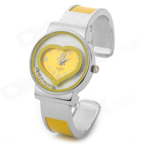 Fashion Round Heart Pattern Acrylic Dial Quartz Analog Wrist Watch for Women - Yellow + Silver paidu fashion men wrist watch casual round dial analog quartz watch roman number faux leatherl band trendy business clock