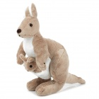 Cute Kangaroo w/ Baby Short Plush Doll Toy - Grey + Off-white