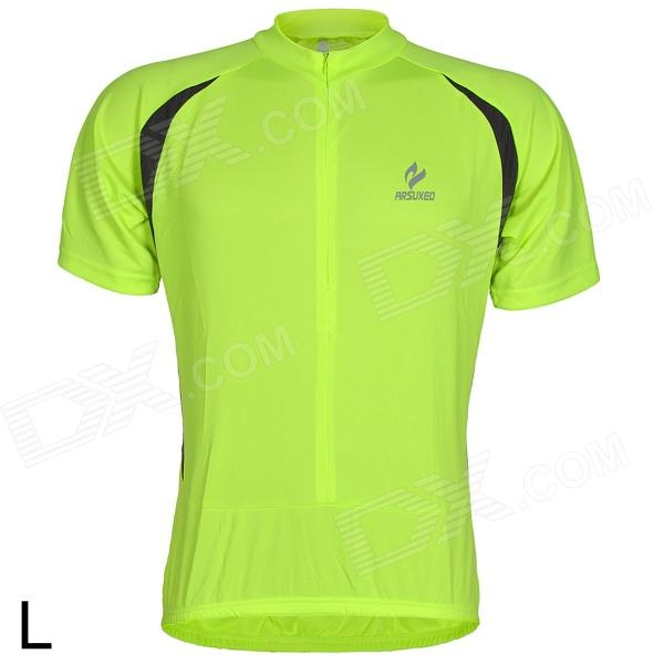 ARSUXEO AR608S Quick-drying Cycling Polyester Jersey for Men - Fluorescent Green + Black (L) arsuxeo ar13d3 outdoor sport quick drying cycling polyester jersey for men red white black l