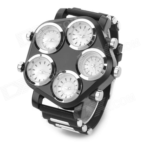 Unique Stylish Large 5 Dial Plate Quartz Analogue Wrist Watch - Black + Silver + White (5 x 377A) ultra luxury 2 3 5 modes german motor watch winder white color wooden black pu leater inside automatic watch winder