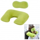 Joytour JT2016 U Shaped Travel Air Inflatable Cotton Wool Cushion Neck Pillow w/ Eyeshade - Green