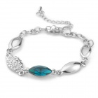 Madou Princess Decorative Iron + Crystal Bracelet for Women - Blue + Silver