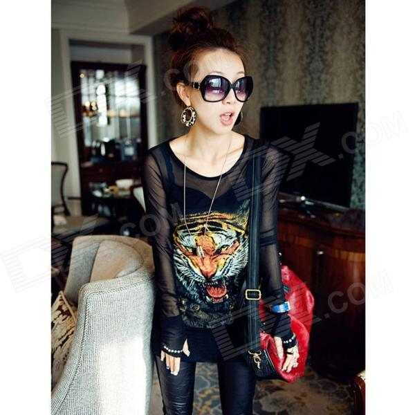 ZEA-DDS-1 Fashion Tiger Pattern Cotton + Mesh Yarn Long-sleeve Bottoming Shirt for Women - Black