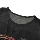 Fashion Tiger Pattern Cotton + Mesh Yarn Long-sleeve Bottoming Shirt for Women - Black