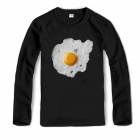 Fried Egg Pattern Cotton Long Sleeves Shirt for Men - Black (XL)