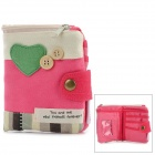 Heart Pattern Casual Canvas Coin Wallet / Purse - Pink + White