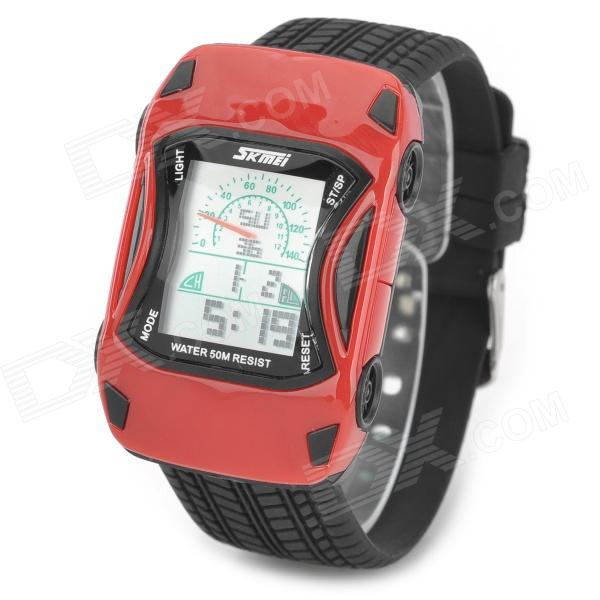 SKMEI 0961B Car Style Electronic Silicone Band Digital Wrist Watch for Kids - Red + Black 2015 new fashion boys girls silicone digital watch for kids mickey minnie cartoon watch for children christmas gift clock watch