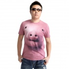 Cute Pig Head Pattern Cotton T-Shirt for Men - Pink (L)