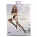 BEILEISI 6003 Sexy Embroidery Nylon + Spandex Pantyhose for Women - Black + Flesh