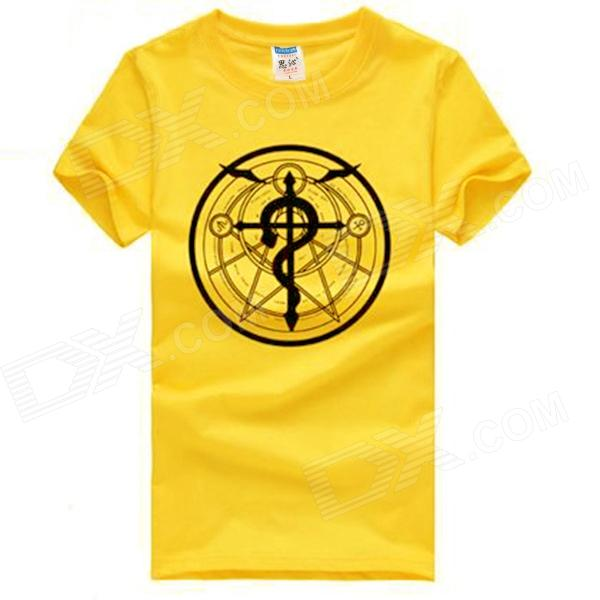 Cotton Round-collar T-shirt for Men - Yellow (L)