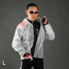 ACACIA 997102 Ultra-thin Cycling Polyester + TPU Raincoat w/ Hood - Translucent White (Size L)