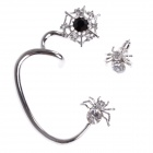 Fashionable Cool Spider Style Zinc Alloy + Shiny Rhinestone Earrings for Women - Silver (Pair)