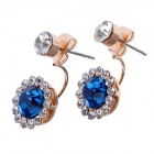 Stylish Elegant Round Shape Shiny Rhinestone Decorated Women's Earrings - Golden + Blue (Pair)